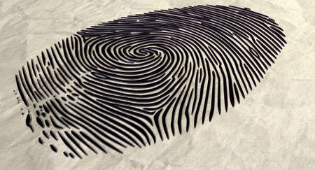 An extreme closeup of a raised ink fingerprint on a brown crumpled paper