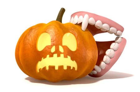 suck blood: A humourus halloween concept of a jack o lantern being bitten by a vampires false teeth on an isolated background
