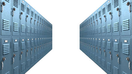 A perspective view of a stack of blue metal school lockers with combination locks and dorrs shut on an isolated background photo