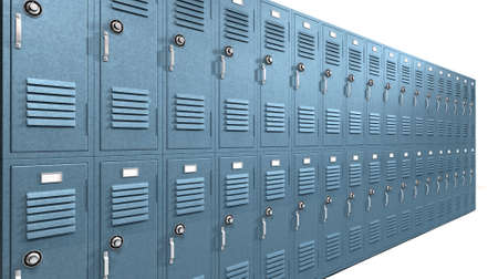 locker room: A perspective view of a stack of blue metal school lockers with combination locks and doors shut on an isolated background Stock Photo