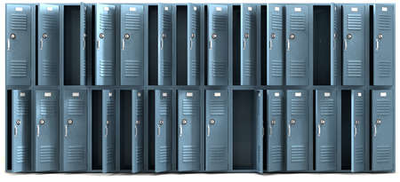 plunder: A perspective view of a stack of ransacked blue metal school lockers with combination locks and open doors on an isolated background Stock Photo