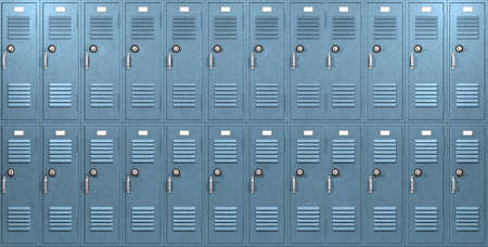 gym room: A front on view of a stack of blue metal school lockers with combination locks and doors shut on an isolated background Stock Photo