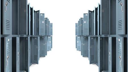 plundering: Een perspectief van een stapel geplunderd blauwe metalen school kluisjes met combinatie sloten en open deuren op een geïsoleerde achtergrond Stockfoto