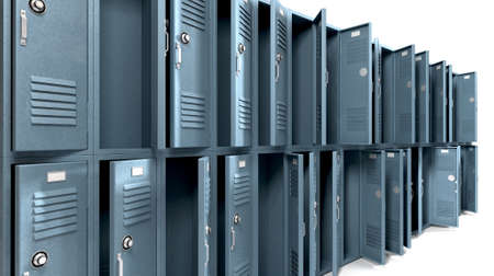 pillage: A perspective view of a stack of ransacked blue metal school lockers with combination locks and open doors on an isolated background Stock Photo