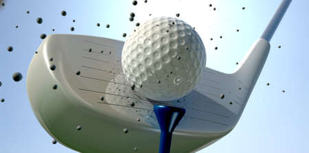 tee off: An extreme close up of a golf ball being hit off its tee with a club on a blue sky background