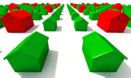 monopoly: A closeup of green and red toy plastic boardgame houses on an isolated background