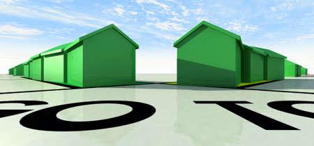 monopolio: Un primer plano de juguete casas de juego de mesa de pl�stico verde en un tablero de juego sobre un fondo de cielo azul Foto de archivo