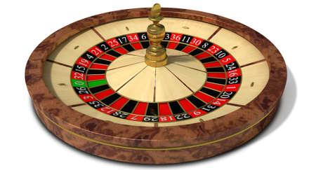 ruleta: Una madera habitual rueda de la ruleta con marcadores de color rojo y negro y detalles de oro sobre un fondo aislado