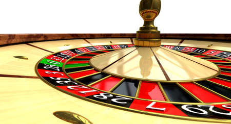 A regular wood roulette wheel with red and black markers and gold detail on an isolated background photo