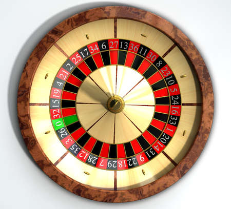 A regular wood roulette wheel with red and black markers and gold detail on an isolated background Stock Photo - 18990626