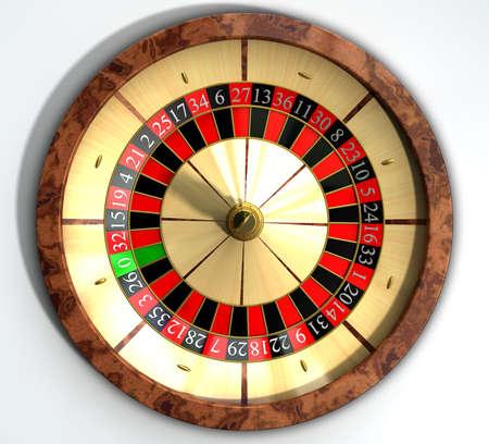 roue de fortune: Une roue de roulette en bois r�gulier avec les marqueurs rouges et noirs et des d�tails en or sur un fond isol� Banque d'images