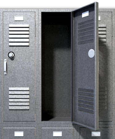 A perspective view of a stack of grey metal school lockers with combination locks and one with an open door on an isolated background Stock Photo - 18990632
