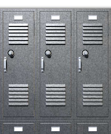 A front on view of a stack of grey metal school lockers with combination locks and doors shut on an isolated background photo