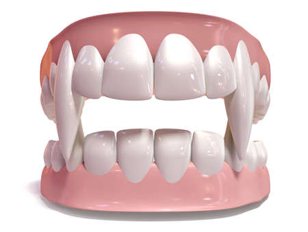 A set of vampire false teeth set in gums on an isolated background photo