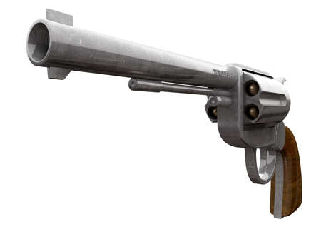 An old metal pistol with a wooden handle pointed towards the camera on an isolated background Stock Photo - 18990643