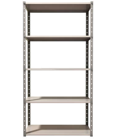 A regular assembled metal warehouse shelving unit on an isolated background Stock Photo - 18990634