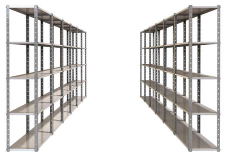 A regular assembled metal warehouse shelving unit on an isolated background photo