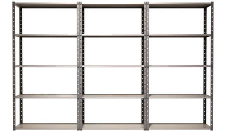 shelving: A regular assembled metal warehouse shelving unit on an isolated background Stock Photo