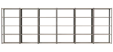 A regular assembled metal warehouse shelving unit on an isolated background Stock Photo - 18990637