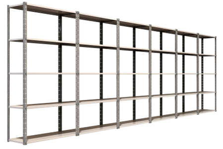 A regular assembled metal warehouse shelving unit on an isolated background Stock Photo - 18990635