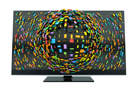 3dtv: A concept of a flat screen television  with colorful fragmented cubes emitting out of the screen on an isolated background Stock Photo