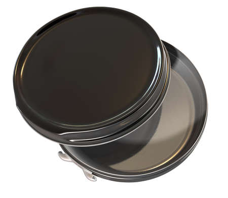 A regular disk shaped black metal tin open on an isolated background Stock Photo - 19334515
