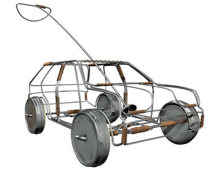 A traditional south african handmade wire toy car made out of metal and copper wire with tin cans as wheels on an isolated background