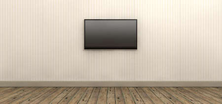 centred: An old styled striped wallpapered walll with brown skirting and wooden floors with a modern lcd television mounted on the wall Stock Photo