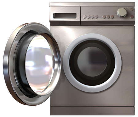 A front view of a regular brushed metal washing machine with its door open on an isolated background photo