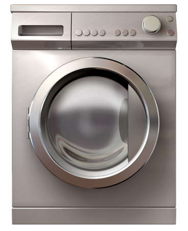 A front view of a regular brushed metal washing machine on an isolated background photo
