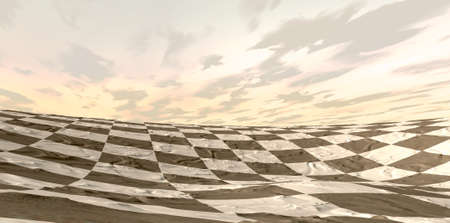 landsape: A desert landsape at dusk with the sand marked out in a dark and light checkered chess board pattern with a sky background
