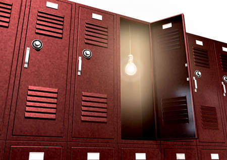 A stack of red metal school lockers with one with an open door with an illuminated lightbulb hanging inside on an isolated background photo
