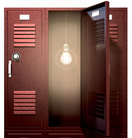 A stack of red metal school lockers with one with an open door with an illuminated lightbulb hanging inside on an isolated background Stock Photo - 19503480