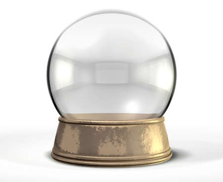 snowdome: A regular empty snow globe or crystal ball with a worn metal copper base on an isolated background Stock Photo