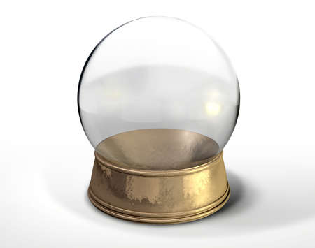 A regular empty snow globe or crystal ball with a worn metal copper base on an isolated background Stock Photo