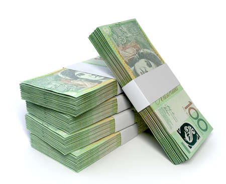 one hundred dollars: A stack of bundled one hundred australian dollar notes on an isolated background