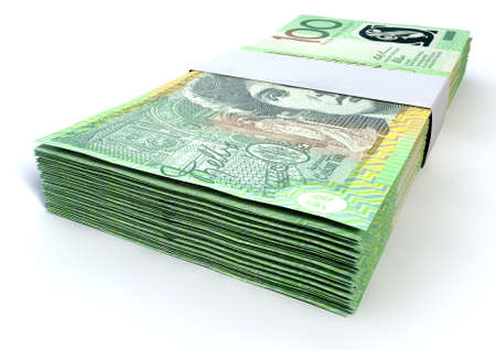 australian dollar notes: A stack of bundled one hundred australian dollar notes on an isolated background