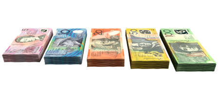 australian dollars: A uniform stack of bundled australian dollar notes on an isolated background Stock Photo