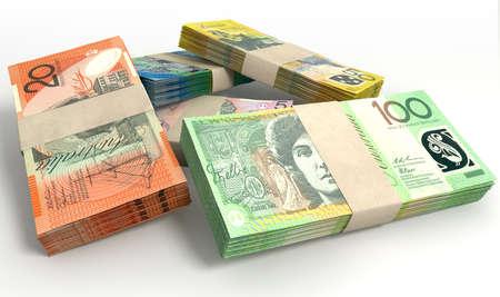 cash money: Una pila de paquetes de billetes de dólar australiano en un fondo aislado