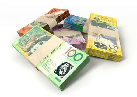 one hundred dollar bill: A stack of bundled australian dollar notes on an isolated background
