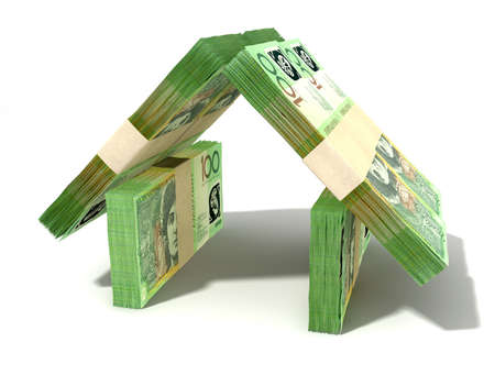 australian dollar notes: Stacks of one hundred australian dollar bank notes assembled in the shape of a house on an isolated background