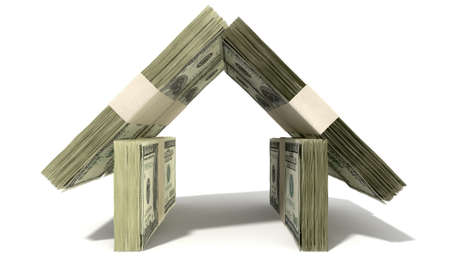 bundles: Stacks of one hundred dollar bank notes assembled in the shape of a house on an isolated background Stock Photo