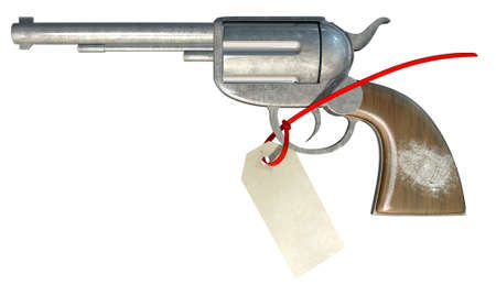 zip tie: A regular metal revolver with a white fingerprint on the wooden handle and a paper tag connect to it with a zip tie on an isolated background Stock Photo