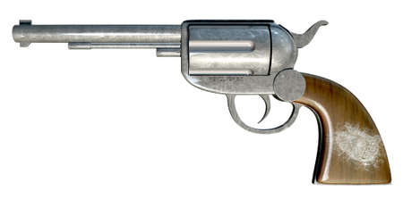 A regular metal revolver with a white fingerprint on the wooden handle on an isolated background Stock Photo - 19503492