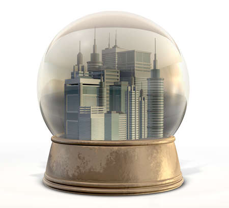 snowdome: A regular snow globe with a skyscraper city surrounded by pollution and smog on an isolated background