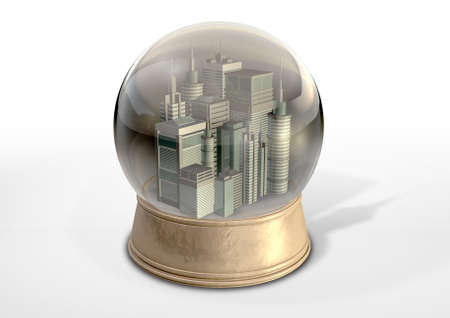 A regular snow globe with a skyscraper city surrounded by pollution and smog on an isolated background Stock Photo - 19503487