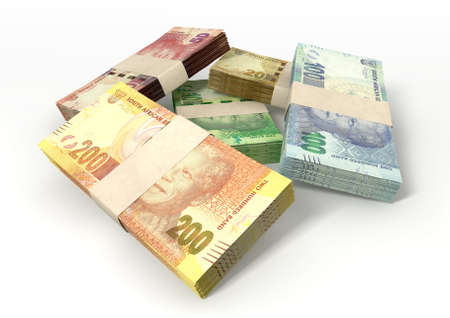 south african: A scattered pile of bundled south african rand bank notes on an isolated background