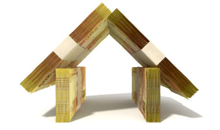 rand: Stacks of two hundred rand bank notes assembled in the shape of a house on an isolated background Stock Photo