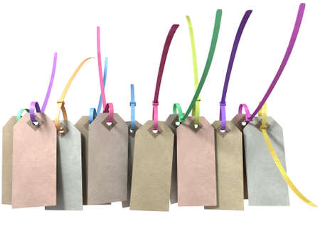 zip tie: A collection of paper tags with colourful zip ties attached through their eyelets on an isolated background Stock Photo