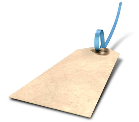 A regular beige colour paper tag with a blue zip tie attached through its eyelet on an isolated background Stock Photo - 19503486